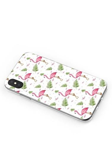 Lopard iPhone Xs Max Kılıf Silikon Arka Kapak Koruyucu Flamingo Pembe Desenli Full HD Baskılı Renkli
